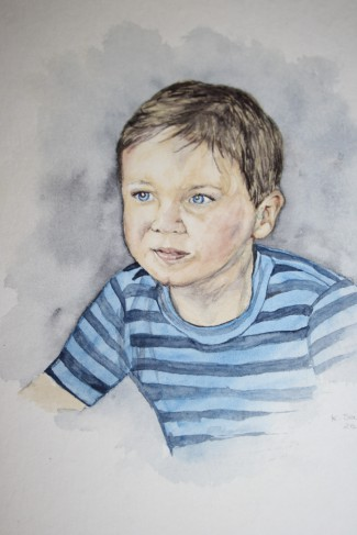 Mein Enkelkind Ben, gemalt in Aquarell
